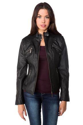 Tattoo Faux Leather Jacket with Zipper Pockets