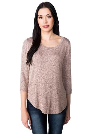 Scoopneck Sweater with 3/4 Length Sleeves