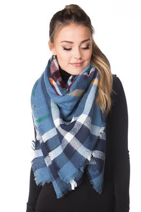 Blue Plaid Blanket Scarf with Fringed Edge