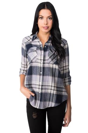 Plaid Flannel Shirt with Roll-up Sleeves