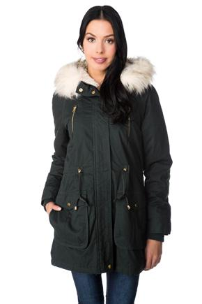 Parka with Removable Fur Trim Hood