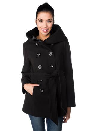 Double Breasted Wool Look Coat with Hood