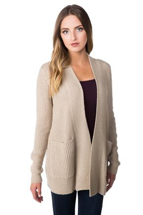 Long Sleeve Open Knitted Cardigan