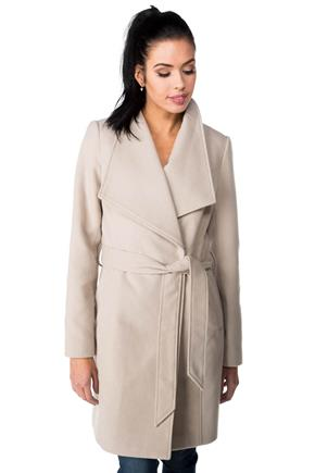 Wool Look Wrap Coat with Tie Belt