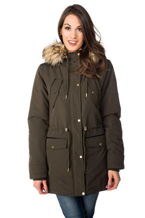 Tattoo Parka with Fur Trim Hood