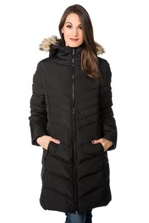 Tattoo Quilted Parka with Fur Trim Hood