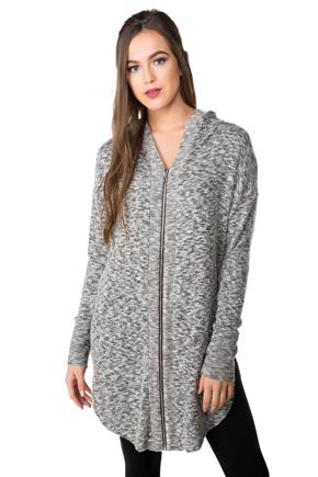 Super Soft Hooded Cardigan with Zipper