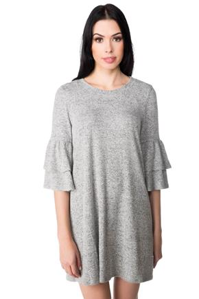 Super Soft Shift Dress with Double Bell Sleeves