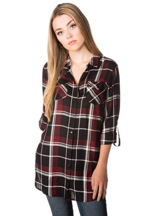 Ava Plaid Tunic with Roll-up Sleeves and Side Slits