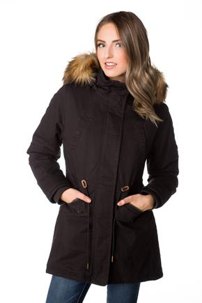 Tattoo Parka with Fur Trim