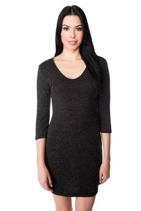 Ribbed Knit Sweater Dress with V-neck and 3/4 Length Sleeves