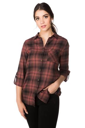 Maddie Plaid Shirt with Pocket