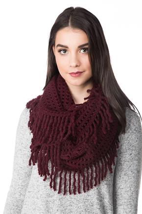 Lattice Knit Infinity Scarf with Tassels