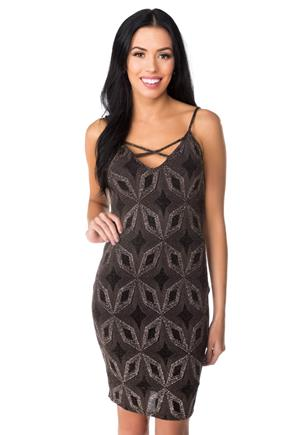 Star Pattern Glitter Knit Bodycon Dress with Criss Cross Detail