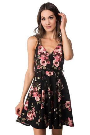 Floral Skater Dress with Adjustable Spaghetti Straps and Ribbon Belt