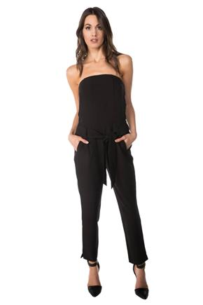 Strapless Jumpsuit with Tie Belt