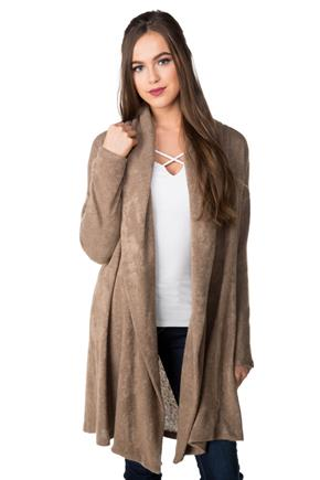 Open Cardigan with Shawl Collar