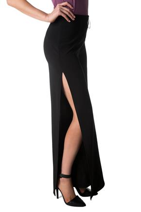 Wide Leg Pant with Side Slits and Front Zipper
