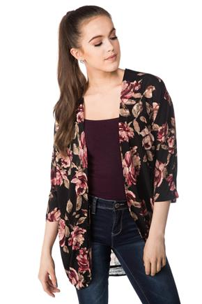 Open Floral Cocoon Cardigan with 3/4 Length Sleeves
