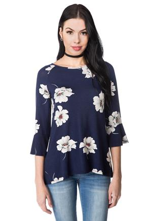 Floral Top with Bell Sleeves and Split Back
