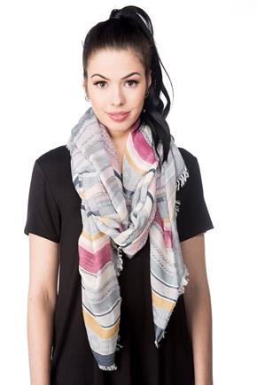 Striped Oblong Scarf with Frayed Edge