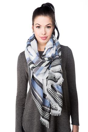 Light Striped Oblong Scarf with Frayed Edge