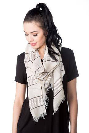 Striped Light Oblong Scarf with Frayed Edge