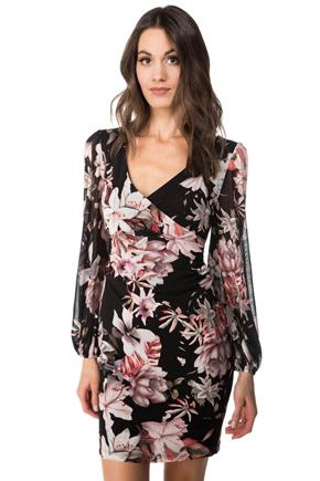 Floral Mesh Ruched Dress