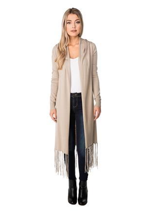 Long Sleeve Duster with Fringe