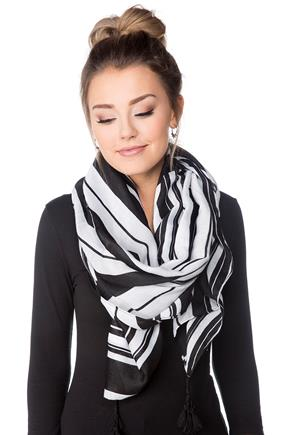 Variegated Stripe Scarf with Tassels