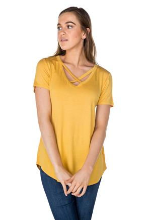 Short Sleeve Criss Cross V-neck Tee