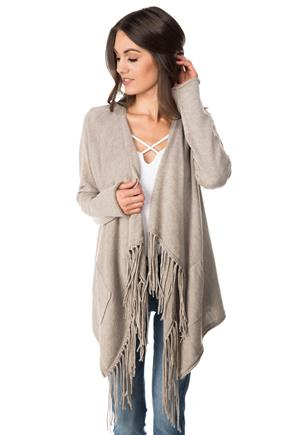 Long Sleeve Cardigan with Fringe and Pockets