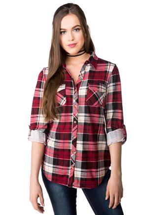 Long Roll-up Sleeve Plaid Shirt