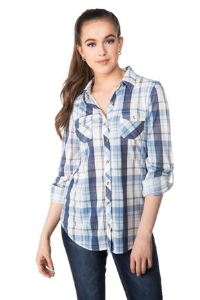 Cozy Plaid Shirt with Roll-up Sleeves