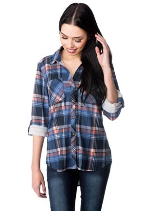 High-low Plaid Shirt with Roll-up Sleeves
