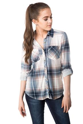 Plaid High-low Shirt with Roll-up Sleeves