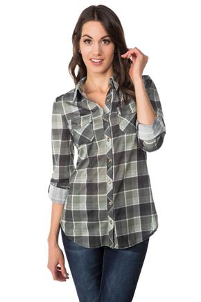 Roll-up Sleeve Plaid Shirt with Check Pockets
