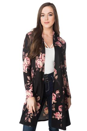 Floral Long Open Cardigan