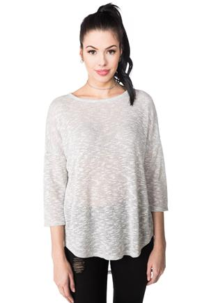 Sweater with High-low Hem and Back Pleat