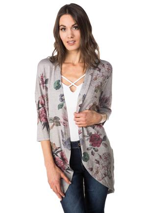 Floral Print Cocoon Cardigan with 3/4 Length Sleeves