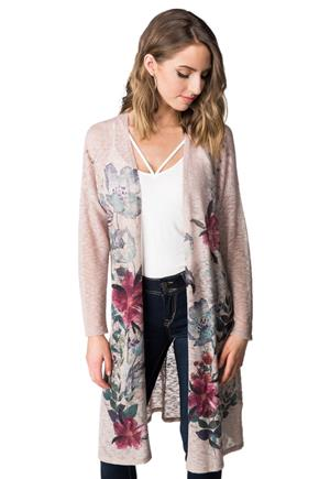 Floral Print Duster with Long Sleeves