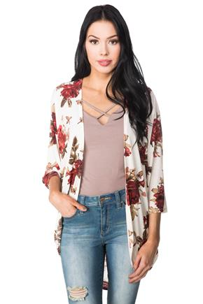 Floral 3/4 Length Sleeve Cocoon Cardigan