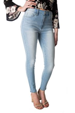 YMI 'No Muffin Top' Light Wash High-Rise Skinny Jean