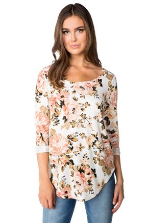 Rose Print Sweater with Shirttail Hem and 3/4 Length Sleeves