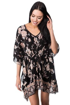 Floral Kaftan Dress with Tie Waist