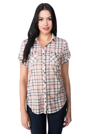 Roll-up Short Sleeve Plaid Shirt