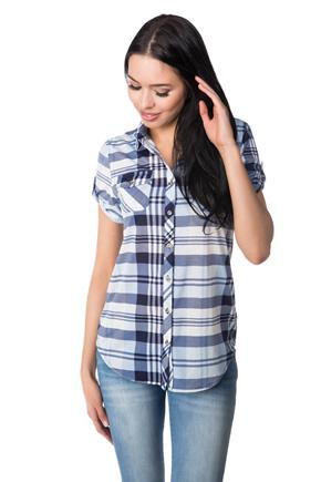 Plaid Shirt with Short Sleeves