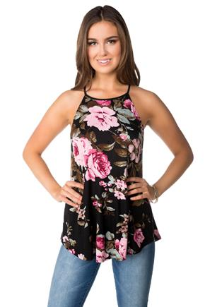 Floral High Neck Swing Tank