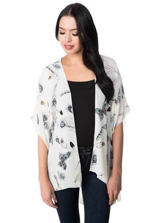 Butterfly Feather Print Kimono with Side Slits