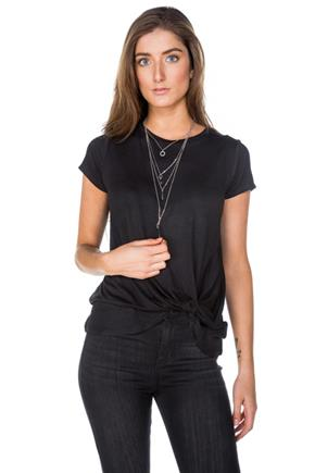 Cap Sleeve Tee with Knotted Hem